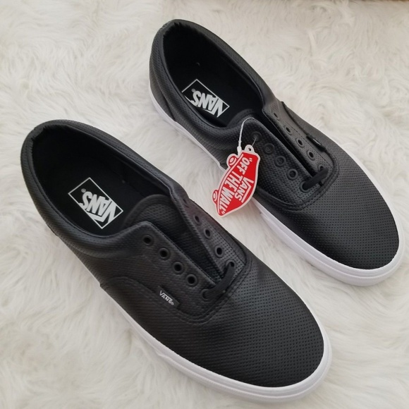 a0fa29b120 Vans Era Perforated Leather Black Men s Size 12